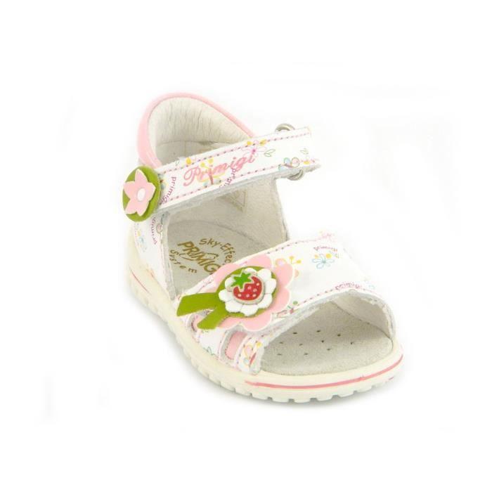 Primigi Sandales Petit Fille Velcro Cuir Alise Blanc 49850