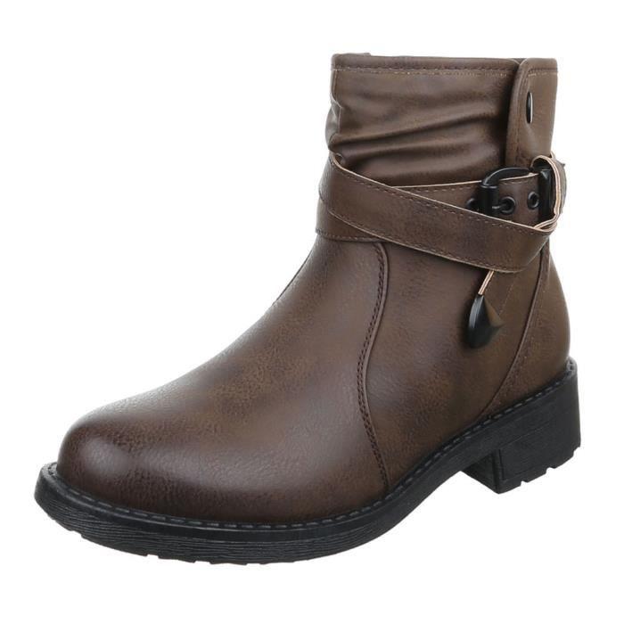 femme bottine chaussure Boots In regard d'occasion marron