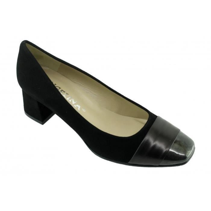 ISABELLE - Escarpins bout vernis talon carré marque Angelina chaussures Femme petites pointures tailles cuir bleu marine ImfFvMKzh6
