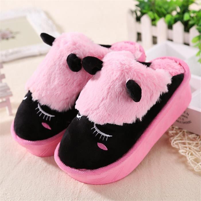 chaussons mignonne femmes Poids Léger pantoufle femme chaud hiver peluche Animaux Cosplay chaussure de marquedssx333noir38