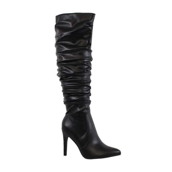 Womens Knee High Skinny Heel Pointy Scrunched Slouchy Fashion Winter Boots SVTQE Taille-38