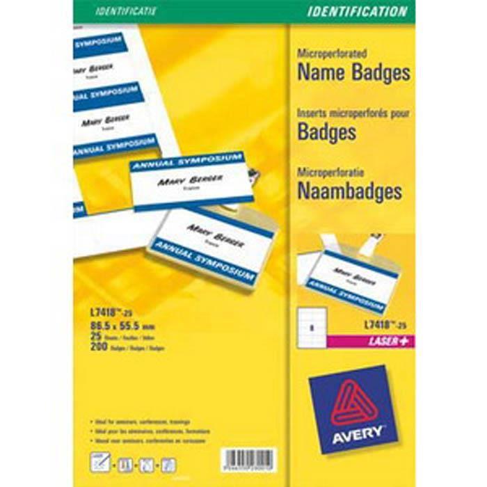 a61c7562e758a Pochette de 200 étiquettes pour badges à clip plastique format 5,5 x 8,6 cm