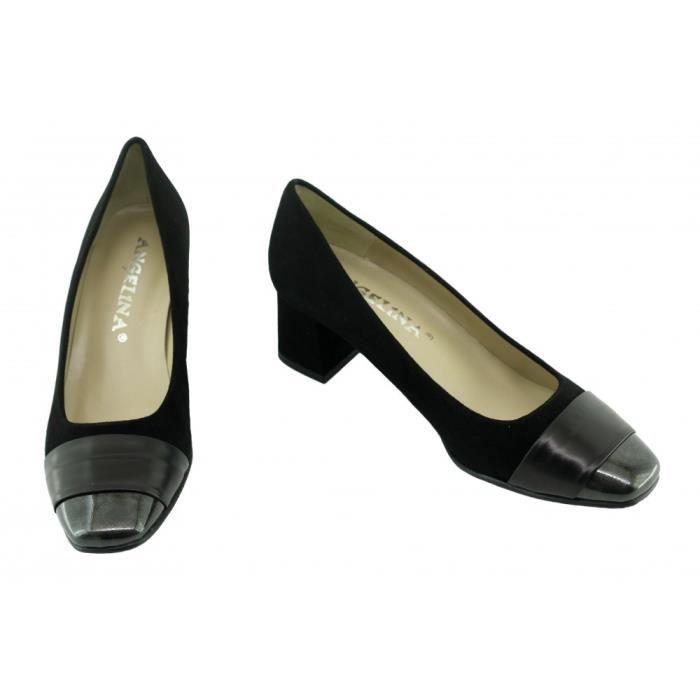 ISABELLE - Escarpins bout vernis talon carré marque Angelina chaussures Femme petites pointures tailles cuir noir