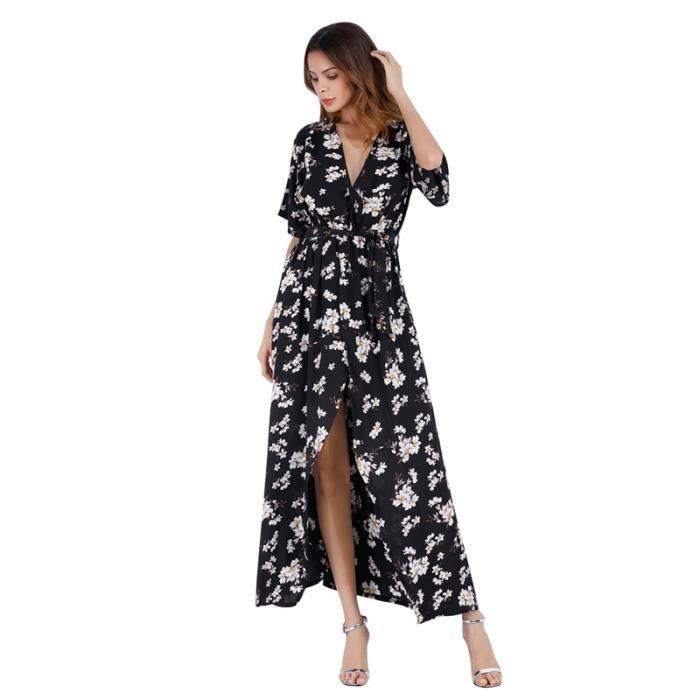 Les femmes Trendy V Neck manches moitié haute de Split Beach Party Dress