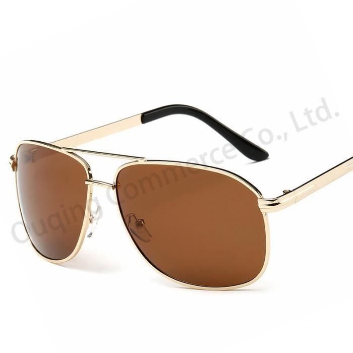 Conduite de nuit Lunettes de sole marron marronil polarisantes cool Homme Argent Or de luxe pour les hommes UV400 Lunettes