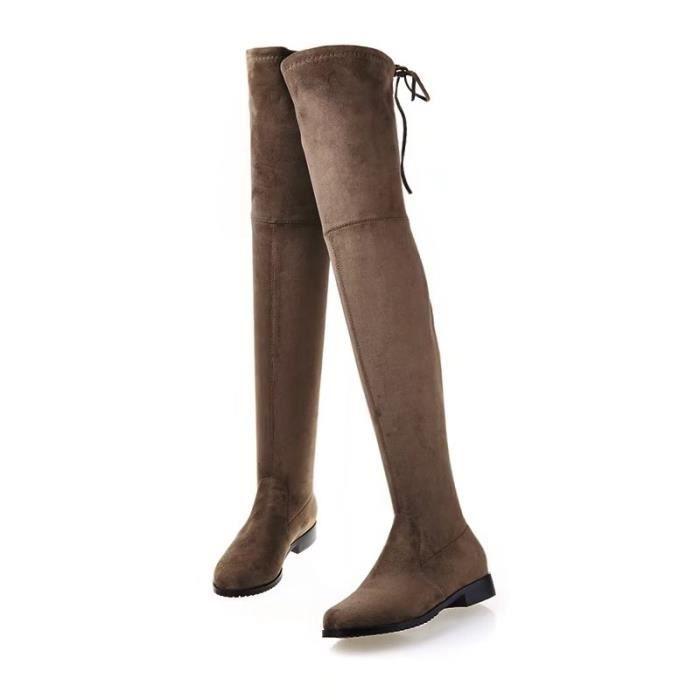 Femme botte en daim boots longs d'hiver plat avec lacet