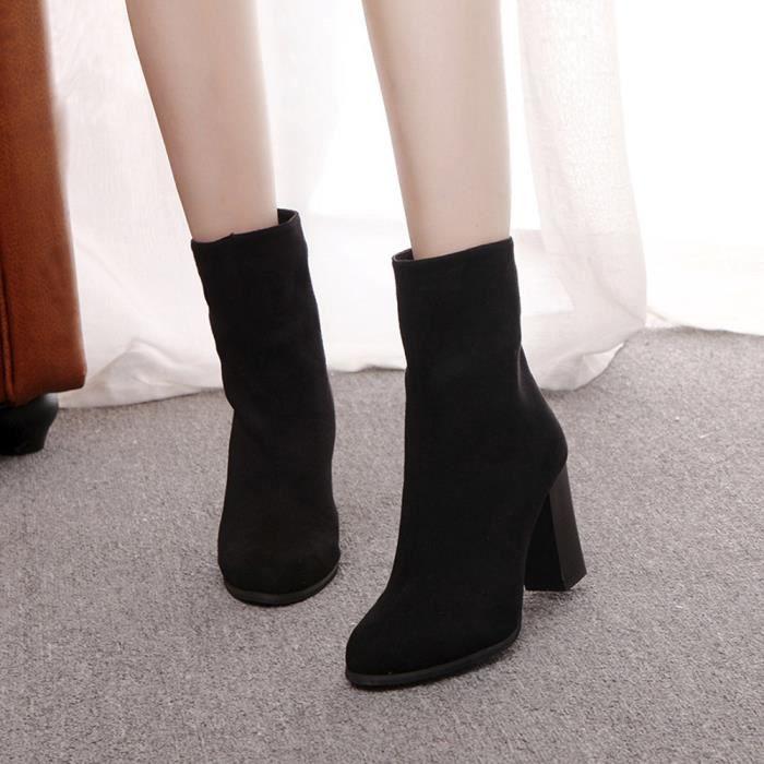 Frankmall®Femmes boucle Martin bottes chaudes talons hauts populaire Noir NYZ71011531BK