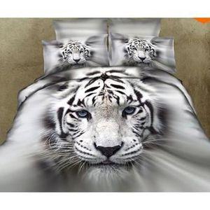 PARURE DE DRAP Parure 3D 2 pers Tête de Tigre blanc