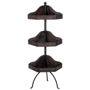 TABLE D'APPOINT meuble d'appoint en métal marron chic 3 niveaux  4