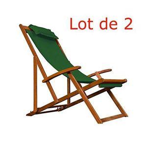 chaise longue transat en bois d acacia jardin coussins lot 2 pi - Transat Bois Pas Cher