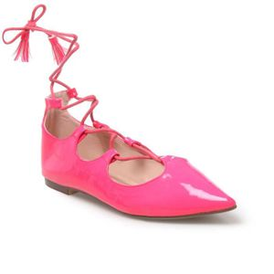 ae8fe0c86916b Ballerines vernis à lacets bout pointu rose fluo Rose - Achat ...