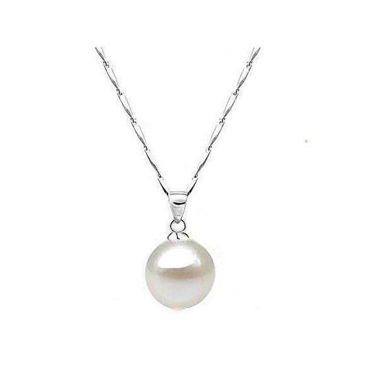 bon out x sortie en vente sortie en ligne Collier perle blanche plaqué or blanc