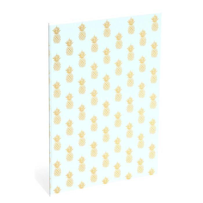 SWEET & GOLD Cahier A4 Ananas gold - Ligné de luxe - Bleu