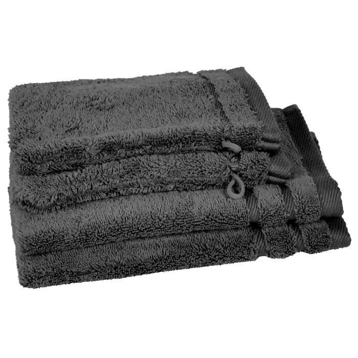 VENT DU SUD Lot 2 serviettes 30x50 cm + 2 gants CALLISTO - Gris anthracite