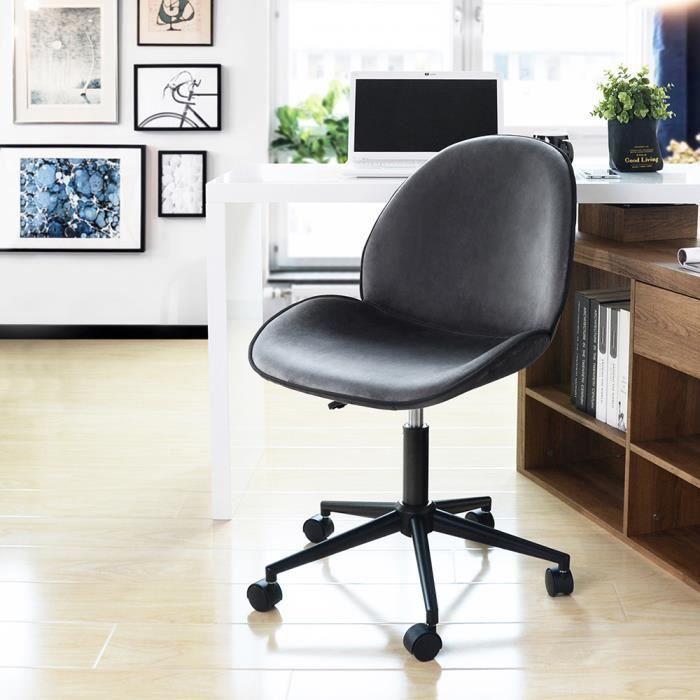 Revêtement Chaise Pivotant Furniturer VeloursGris Hauteur Bureau De Réglable Roulant En Nw0vOm8n