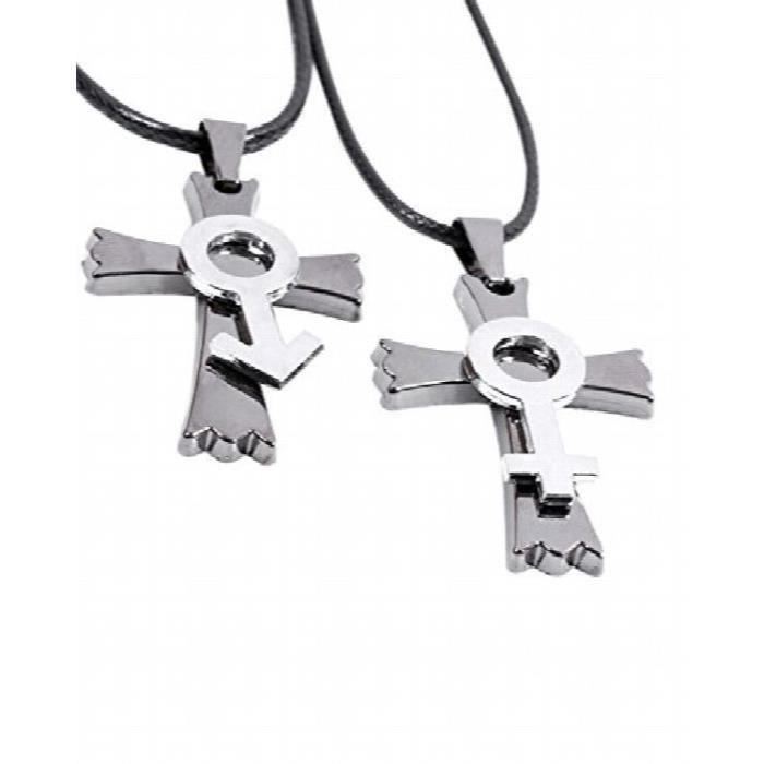 Cadeaux Saint Valentin Collier Acier et Titane Croix spéciale Couple féminin (2 pièces - Elle et Lui) Pour LZZ06