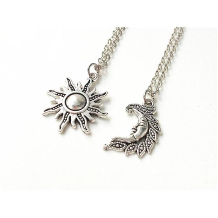 SAUTOIR ET COLLIER Collier de Sun et de lune, colliers d amitié, son. Soleil  pendentif ... 0332a411da37