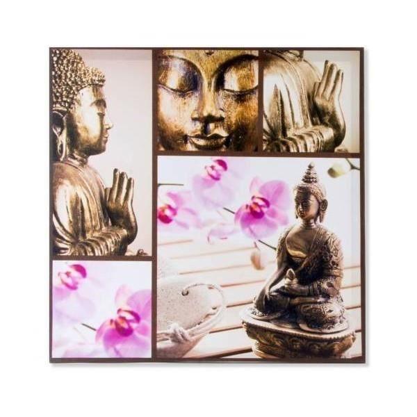 tableau toile cadre zen bouddha et orchid e 50 x 50 cm a achat vente tableau toile. Black Bedroom Furniture Sets. Home Design Ideas