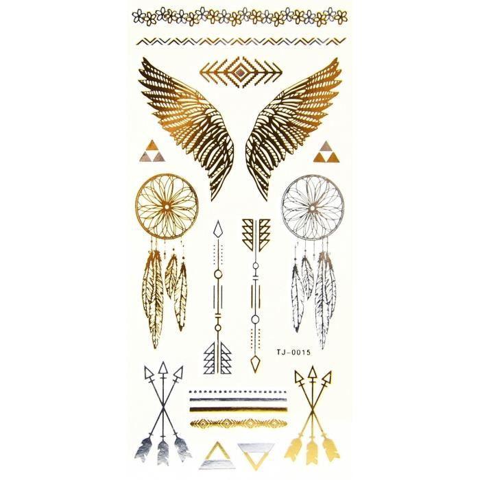 Aile Ange Tatouage tatouages éphémères métallique or aile ange attrape reve - achat