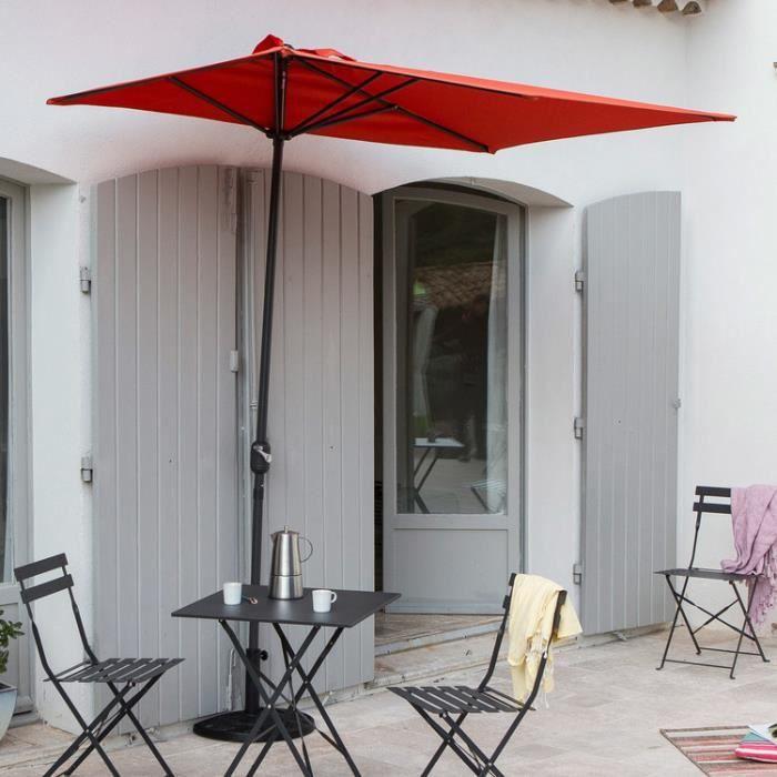 demi parasol de balcon rectangulaire en aluminium avec manivelle 230x130cm circle orange. Black Bedroom Furniture Sets. Home Design Ideas