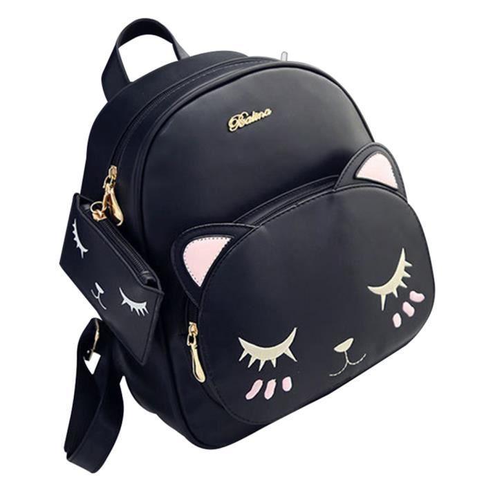 Hicollie® Chat Avec monnaie Cabas Epaule Bandoulière Cadeau Pochette Cuir Dos A Porte Sac Femme Mini Pu Noir UxnZUr