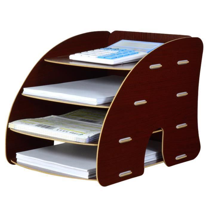 trieur vertical rangement tag re dossier papier magazine organiseur 4 compartiments pour bureau. Black Bedroom Furniture Sets. Home Design Ideas