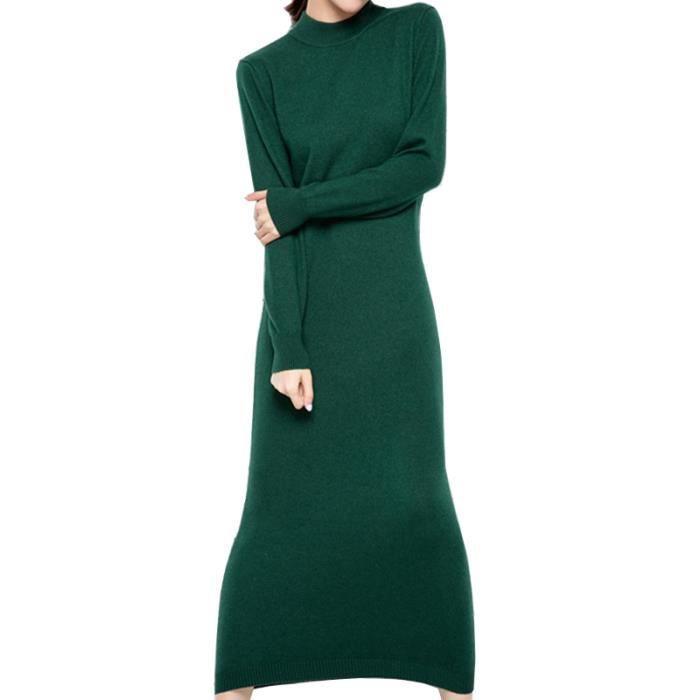 Robe en laine femme longues haut col avec ceinture a grande taille