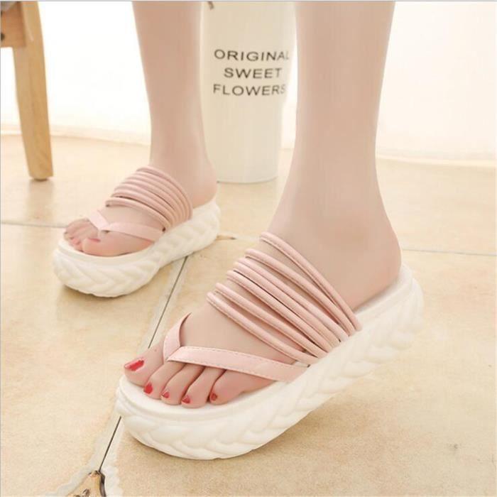 sandales femme tongs Confortable chaussure de plage femmeschaussures d'été sandales marque De Luxe Grande Taille 40