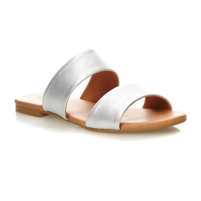Basime 2 Strap - Sandales en cuir - argenté