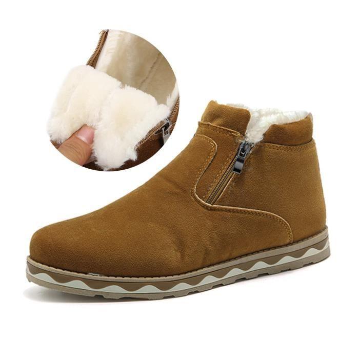 Bottes velours et femmes, style britannique Suede Bottes de neige d'hiver Plate-forme chaussures plates chaudes R36O1 Taille-42