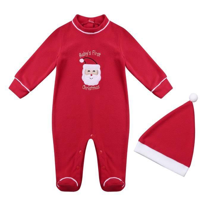 dccc0c67351b8 Ensemble de Vêtement Noël Père Costume Bébé Unisexe Barboteuses  Grenouillères Manches Longues 3-18 Mois