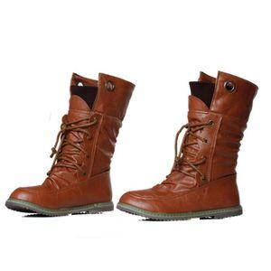 Sidneyki®Femmes Hiver Mode Martin Bandage Bottes Femme Bottines Femme Casual Chaussures marron WE627 9yvNF