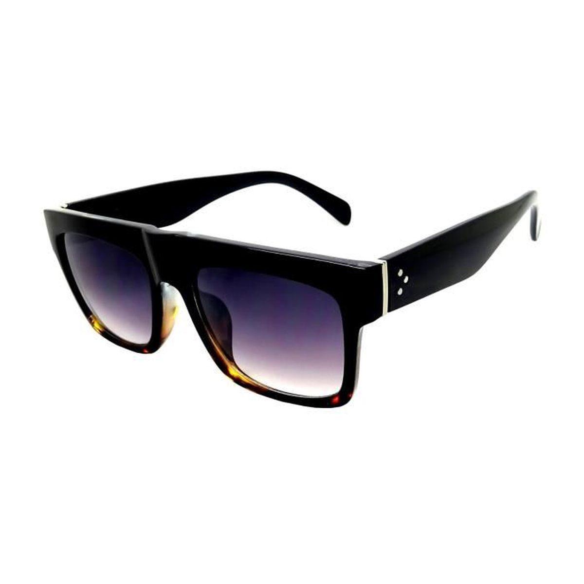 Lunettes Soleil KIM Rectangle Soleil Femme Noir Havana Masque Carré - Achat    Vente lunettes de soleil Mixte - Cdiscount 6e6c83379b31