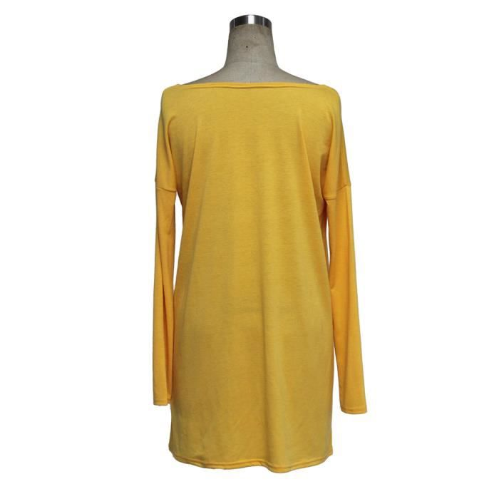 Casual Femmes Robe En Vrac Manches Longues Col Rond Section Mince Tops Blouse