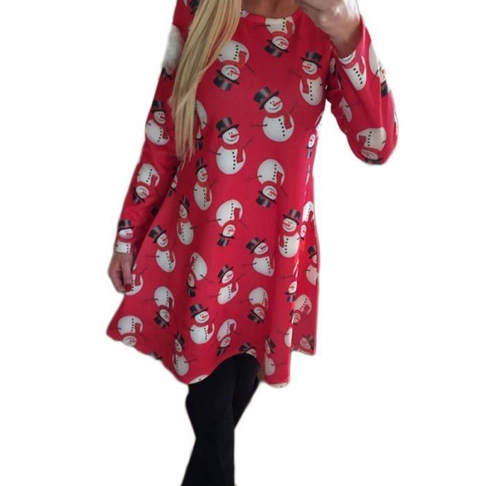 Mignon Femmes Imprimé Bonhomme de neige à manches longues Jupe O-cou Robe de Noël (Taille: S-XL)-2179