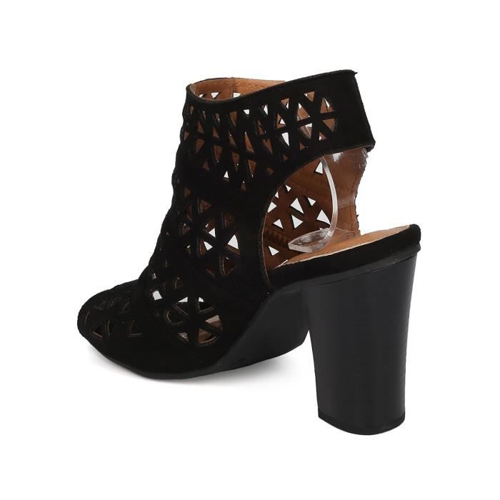 Perforé Bloc talon - Dressy, Trendy, Date Night - Peep Toe Mule - Gg77 EA24W Taille-41