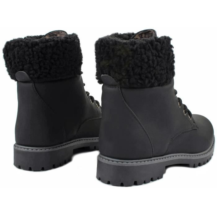 Faux Wool Fur Cuff Lace Up Nubuck Combat High Top Ankle Boots VENH0 Taille-37 1-2