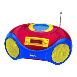 AEG SR 4363 CD Radio Karaoké Pour Enfants - CD-R/Rw - Radio Fm Pll - Port USB - LCD Rouge - Microphone