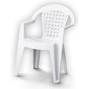 Fauteuil de jardin plastique blanc achat vente for Chaise longue jardin plastique blanc