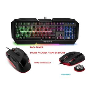 PACK CLAVIER - SOURIS PACK GAMER CLAVIER ECLAIRAGE LED CHASSIS MÉTAL ANT