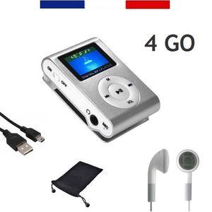 LECTEUR MP3 MINI-LECTEUR CLIP MP3 ÉCRAN 1,1'', MÉMOIRE 4 GO, R
