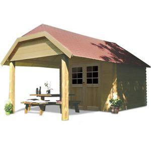 Abri de jardin en bois avec auvent - Achat / Vente Abri de jardin ...