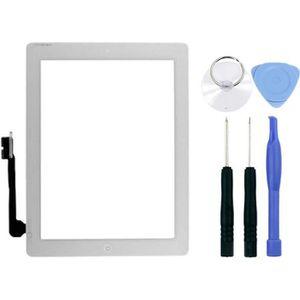DALLE D'ÉCRAN Vitre ecran tactile iPad 4 blanc +adhésif installé