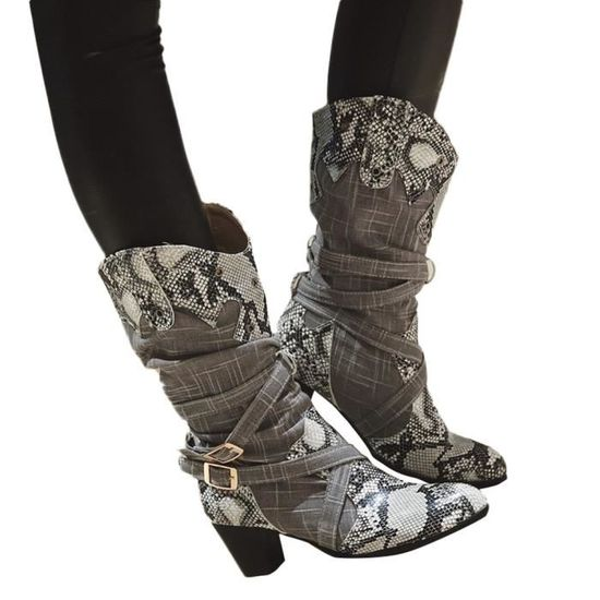 df2134cbbcfd5e Oppapps6886 Serpent Bottes Mode D'hiver Talons Chaussures Mi Femme Pointu  Bout rtFrgqw