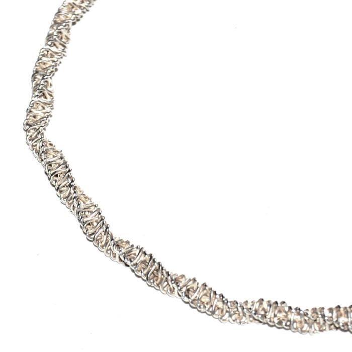 Collier ras de cou argent massif 925 chaîne grosse maille originale bijou