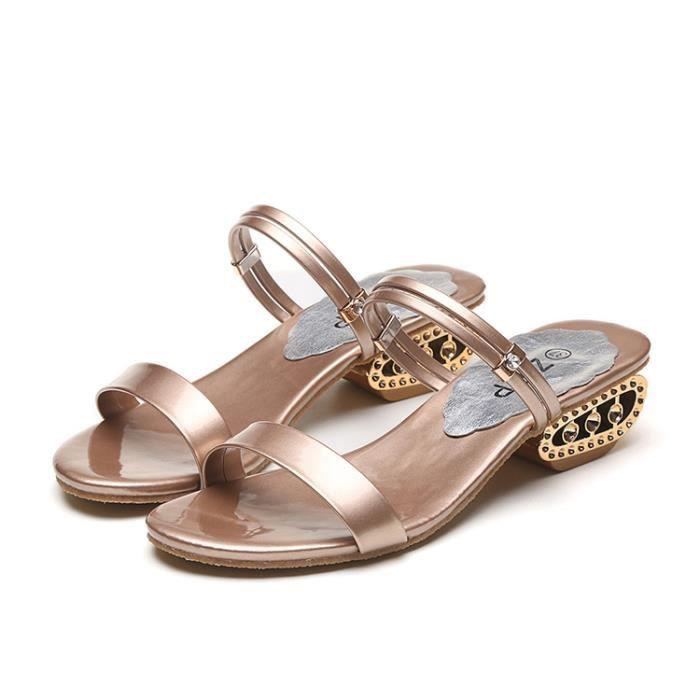 2017 Sandales mi-talon pour femme Sandales Peep Toe Rhinestone Casual Sandales Chunky Chaussures Champagne Couleur Taille 40