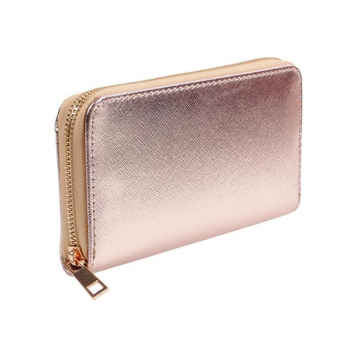 Portefeuille Porte monnaie idée cadeau pour femme fille couleur uni  brilliant look métalique avec fermeture éclair modèle vintage d30c1c8e083