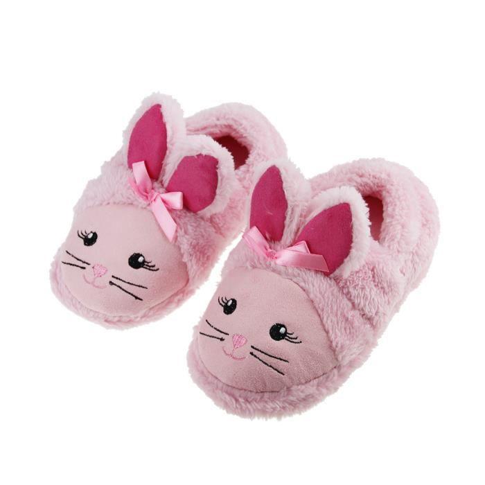 a16da4535cc91 Chaussons Bébé Mignon Peluche Pantoufles Unisexe Chaussures Souples  Antidérapant Chaude Souple Fourres pour Enfant Hiver Maison Cham