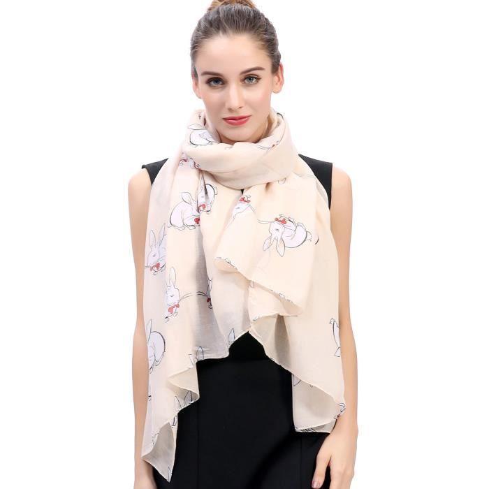 39bd789fc98e Lapin Écharpes Foulard pour Femmes Beige Beige - Achat   Vente echarpe -  foulard - Cdiscount