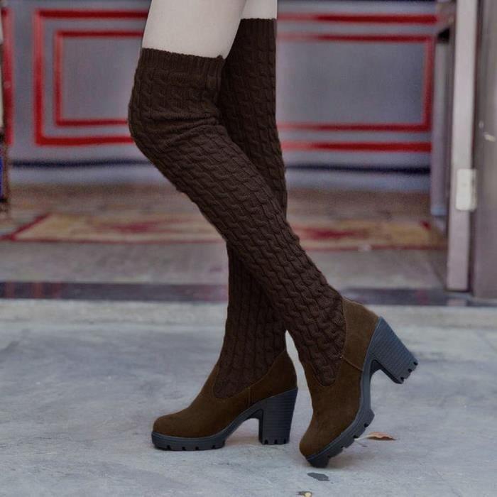 Frankmall®Mode tricotant au-dessus du genou Bottes orteil élastique extensible talon épais pour femmes Marron NYZ70928495BW